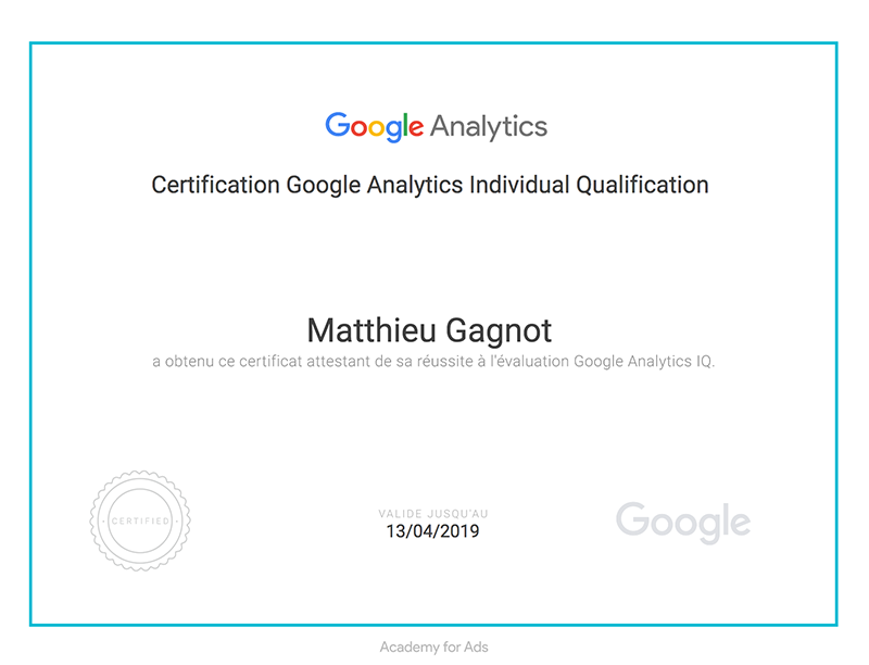 Certification Google Analytics Redactionseo