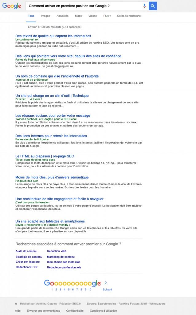 Critères de ranking classement SEO google